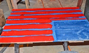 diy rustic pallet wood american flag step eight paint the stripes red