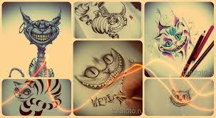 эскизы тату чеширский кот интересные рисунки тату чеширский кот