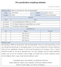 Production Reporting Templates Production Meeting Report Template Template Business