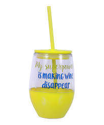 love this my superpower stemless plastic sippy wine cup
