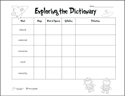 Exploring The Dictionary Preview Free Skills Worksheets Middle ...