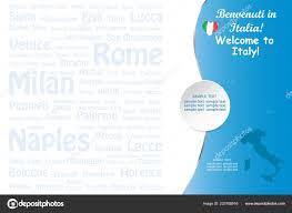 Concetto Viaggio Italia Con Emblema Mappa Stato Dell Aeroplano Dell