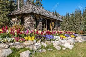 cascade gardens at canada place gardens in banff national park alberta stock photo