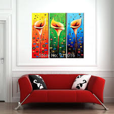 Oil Paintings For Living Room Colourful Flowers Painting Hand Painted Wall Abstract Home Decor