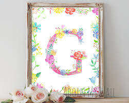 Baby Monogram Wall Decor Letter G Wall Art Instant Download Wall Decor Monogram G