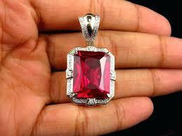 mens ruby pendant yellow gold royal created ruby gemstone center diamond pendant mens silver ruby pendant