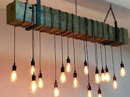 reclaimed barn beam chandelier light fixture modern industrial rustic restaurant bar lighting