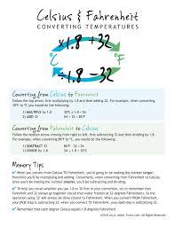 homeschool free celsius fahrenheit conversion chart great memory tool homeschool