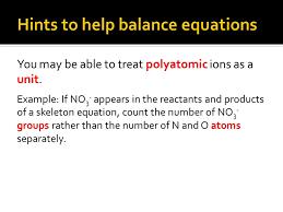 hints to help balance equations