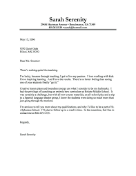 Teacher Cover Letter With Experience Sample Cover Letter For