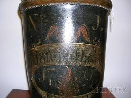 federal fire society paint decorated leather fire bucket