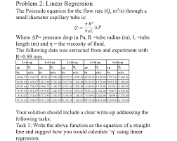 the poissuile equation for the flow rate q m 3 s