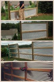 Privacy screen made from sheets of galvanized, corrugated metal - could be  good as a