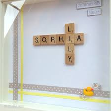 baby name frame personalised scrabble style art