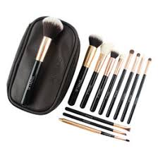luxury style makeup brush set 12pcs sixplus rose gold black wood handle make up brush set in cosmetic bag