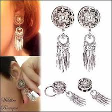 Dream Catcher Tunnels Dream Catcher Dangle Stainless Double Flared Ear Tunnels Plugs 94