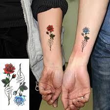 водонепроницаемый временные татуировки наклейки красная синяя роза поддельные