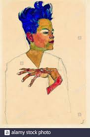 Egon Schiele, Self portrait, (hands on chest), painting, 1910 Stock Photo -  Alamy