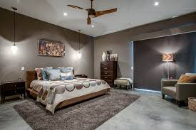 master bedroom lighting. Modern Master Bedroom Using Grey Wall Colors And Illuminated With Hanging Pendants Floor Lamp Also Lighting H