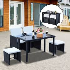 outsunny rattan outdoor furniture 5pc