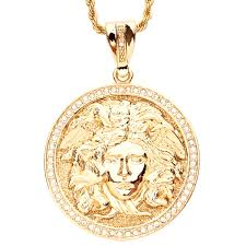 iced out bling hip hop chain medusa head gold pendants iced out biz