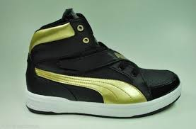 Puma DJ 6S Youth Size Hi Top Shoes Shoes Black Gold with USB Charger 353599  01 for sale online