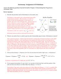 How Many Light Years In A Parsec Astronomy Assignment 10 Solutions