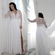 cheap plus size white dresses plus size wedding dresses with split sheath plunging v neck illusion