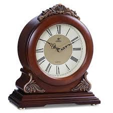 power brand high end solid wood desk clock silent quartz movement table clock crystal masa