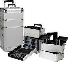 professional rolling makeup case w drawers silver