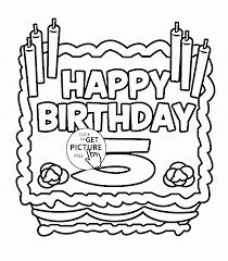 Small Picture Happy 5th Birthday Card coloring page for kids holiday coloring