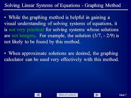 table of contents slide 7 solving linear systems of equations graphing method while the graphing