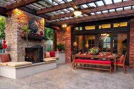 outdoor patio cover ideas patio traditional with ceiling fan fireplace hearth brown covers outdoor patio