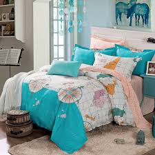 turquoise white and orange nautical themed world map print modern chic 100 cotton twin full size bedding sets for boys