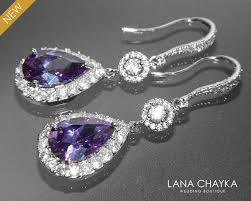 amethyst crystal chandelier earrings purple cz bridal earrings amethyst teardrop earrings sparkly halo wedding earring prom amethyst jewelry 37 90 usd
