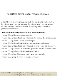 Waiter Resume Sample MABO Sp z oo American Paper Writing Services free sample 62