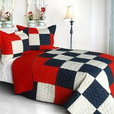 Red Blue Black & White Teen Bedding Boy Girl Full/Queen Quilt Set ... & Quilt Set A, Quilt Set B ... Adamdwight.com