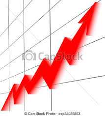 Red Arrow Rising Graphic Chart Black Grid