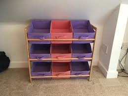purple pink 3 tier wood toy unit 9 canvas boxes drawers kids childrens