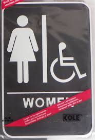 Cole Ada Braille  X  Self Stick Women Restroom Bathroom Sign - Restroom or bathroom