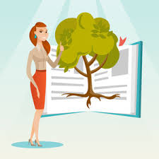 subscription library happy caucasian student standing on the background of tree growing from open book cheerful student
