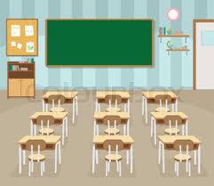 classroom table vector. empty school classroom with green chalkboard table vector