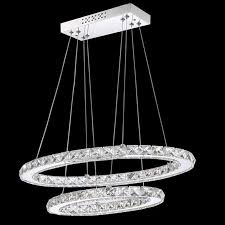vallkin 2 rings oval crystal led pendant lights ceiling chandeliers lighting with 45w ac100 to 240v ce fcc rohs crystal pendant ight crystal chandeliers