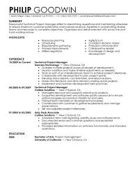 Sample Project Management Resume Resume Work Template