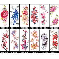 12 Listů Různých Květin Dočasné Tetování Nádherné Barevné Vodotěsné Umění Falešné Tetování Nálepka Pro Dámské Dívky Růže Pivoňka T