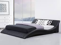 modern king size bed frame sleigh ft genuine leather headboard