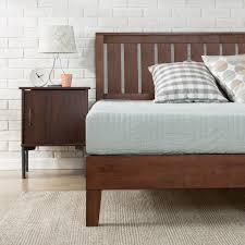 antique espresso deluxe solid wood platform bed with headboard  zinus