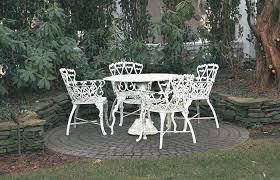 wrought iron vintage patio furniture. White Metal Patio Set Vintage Wrought Iron Furniture Decoration I