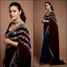 Latest Velvet Saree Designs Kajol Devgan At Priyanka Chopra Nick Jonas Wedding