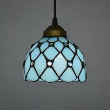 tiffany pendant light mediterranean sea style lake blue color bedroom fixtures e27 110240v mediterranean light fixtures e83